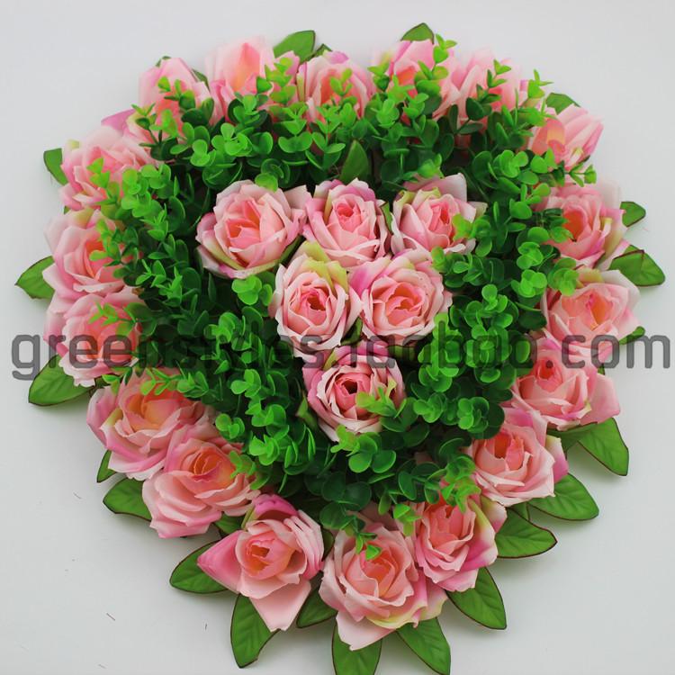 玫瑰爱心花盘 仿真玫瑰爱心花盘 桃心形玫瑰花球 仿真花门饰墙壁假美