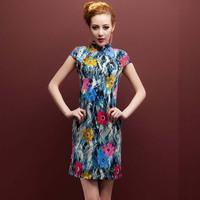 Традиционное китайское платье New Fluid Cheongsam Sexy Dress Fashion Chinese Style Vintage Printing Summer Hemp Plus Size Qipao M/XXL/XXXXL
